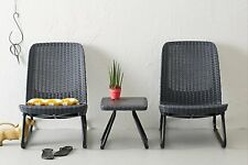 Outdoor Patio Garden Conversation Chair & Table Furniture Brown Rio Patio  Grey