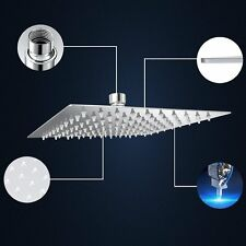 12'' Ceiling Wall Square Stainless Steel Shower Head Rainfall Bathroom Faucet