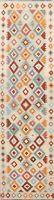 Flat-Weave Geometric Kilim Reversible Oriental Runner Rug Wool Carpet 3x10 New