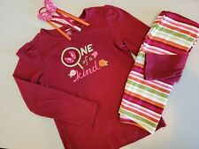 Gymboree Butterfly Girl Oufit 10 Hair Pony Striped Leggings Maroon Shirt Clothes