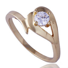 Gold Plated Solitaire crystal Heart Wedding Bridal  Stainless Steel Ring Size 7