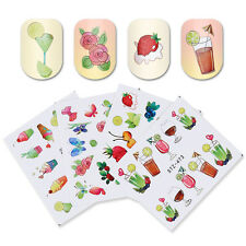 4x Colorful Butterfly Water Decals Lot Fruit Juice Nail Art Transfer Sticker DIY