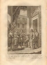 1770  ANTIQUE PRINT -BIBLE- THE SCRIBES AND PHARISEES BROUGHT UNTO HIM A WOMAN
