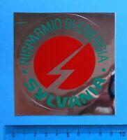 ADESIVO VINTAGE STICKER AUTOCOLLANT ANNI'80 SYLVANIA LAMPADINE 9x9 cm RARO