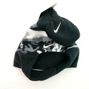 Nike Baby Boy Infant Gray Camo Fleece Trapper Hat & Mittens Winter Cold Set