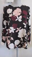 NWT VINCE CAMUTO Small BLACK w/Rose & White Floral Hi-Low Lg Sleeve Blouse $99.