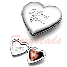 I LOVE YOU Carved Heart Friend Photo Picture Frame Locket Pendant for Necklace