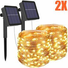 2tlg 10m LED Solar Lichterkette Lichtschlauch Außenbeleuchtung Garten Party Deko