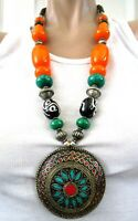 Exquisite Inlaid Coral & Turquoise Beaded Tribal Necklace