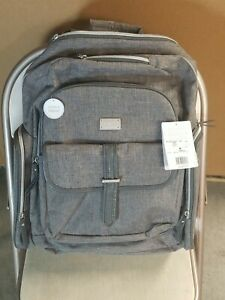 Carter's Stow Away Diaper Bag Backpack 8 Pocket Heather Gray