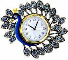 "Wooden Wall Clock Peacock Art Home Decor Diamond Clock Xmas New Year Gift 14"""
