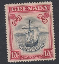 GRENADA : 1943 10/- narrow frame perf 14 slate-blue & bt carmine  SG 163b mint