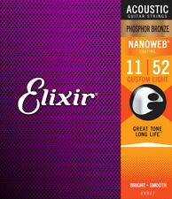 Elixir 16027 Nanoweb Phosphor Bronze Acoustic Guitar Strings Custom Light 11-52