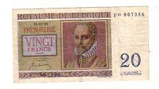 Belgium Belgio 20 Franchi    1950  BB+  VG  Pick 132a rif 2709