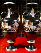 """Rare C1860 Antique Etruria Neoclassical Greek Revival Vases 16.5"""" Tall PAIR"""