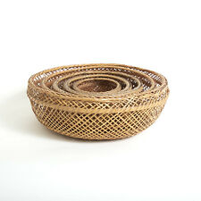 Vintage Woven Baskets Rattan Wall Decor Rustic Decor Yarn Bowl Kitchen Bamboo