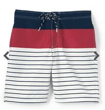 adc52e6ace Lands' End Men's Printed Board Shorts - L - Red/White/Navy Stripe