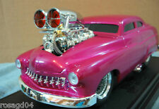 Muscle Machines 1949 Mercury Hot Pink Car Real Braided Steel Line Die-Cast 1:18