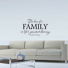 LOVE OF A FAMILY IS LIFE'S GREATEST BLESSING WALL QUOTE DECAL VINYL WORDS HOME