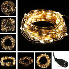 Warm White 10M/33FT 100LED Copper Wire String Party Wedding Decor Fairy Light