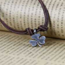 Mens Handmade Genuine Leather Clover Pendant Brown Surfer Necklace Choker