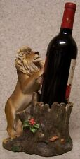 Wine Bottle Holder and/or Decorative Sculpture Lion and Tree Stump NIB