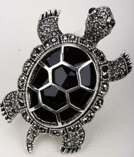 Big turtle stretch ring animal bling scarf jewelry gifts 5 silver black