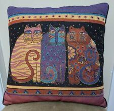 "Laurel Burch Feline Friends Cat Tapestry Decorative Throw Pillow 18"" X 18"""