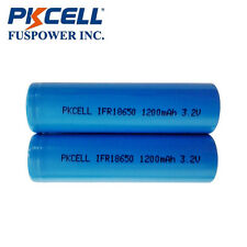 PKCELL 2x IFR 18650 3.2V 1200mAh LiFePO4 Rechargeable Battery Flat Top