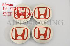 SET OF 4 PCS TYPE-R SILVER RED LOGO WHEEL CAP HUB CENTER 69MM US SELLER