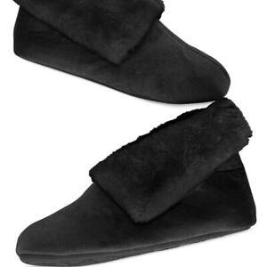 Charter Club Faux Fur Bootie Slippers w/ Memory Foam Black Small 5 - 6 NEW
