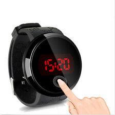 Black Waterproof Silicone Date LED Round Watch Touch Screen Mens Wrist Watch