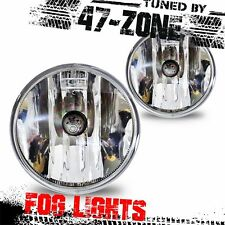 For Chevy Ford GMC Pontiac Clear Lens Chrome Housing Fog Lights Pair Kit Set