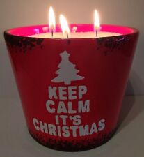 "Elegance Wax Crystals ""Keep Calm It's Christmas"" Snow Candle Refillable Gift"