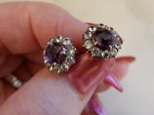 A STUNNING PAIR OF ANTIQUE GOLD AMETHYST AND WHITE SAPPHIRE CLUSTER EARRINGS