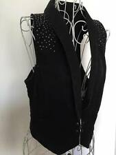 RRP$242 MAX&Co By MAX Mara Black Demin Vest w/ crystal details F38/I40/US6/UK8