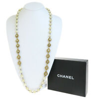 Auth CHANEL CC  Imitation Pearl Rhinestone Chain Pendant Necklace Gold 33EG076