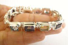 Multi-Gemstones Moonstone Citrine Iolite 925 Sterling Silver Tennis Bracelet