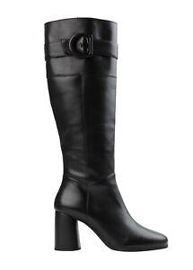 Geox Respira D Calinda Tall Black Leather Boot - NEW -  Size EU 39 - US 9