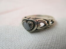 Vintage WM Sterling Ring Heart shaped Hematite stone