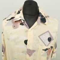 RETRO Mens Vintage Shirt Crazy Disco 80s 90s 2XL Cream RELAXED Abstract