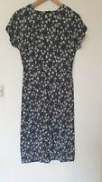 True Vintage 80s St Michael Floral Chiffon Type Thin Tea Dress Size 10