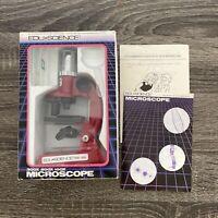 1989 Red Mini Vintage Microscope - Edu-Science With Slides Zoom 100x 200x 300x