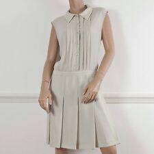 MOSCHINO CHEAP & CHIC Beige Crepe Sleeveless Knee Length Shirt Dress It 46 UK 14