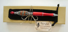Ballpoint Pen Handmade Jeweled Large Beaded Red Pen W/Blk Pouch NEW!