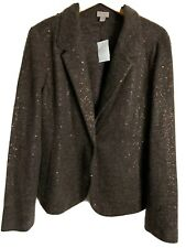 J Jill Brown Sequin Blazer Suit Jacket Womens XL NWT