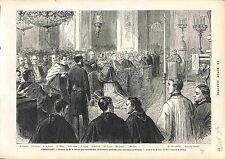 Ceremony Berretta Biretta Cardinal Versailles Mac-Mahon OLD PRINT GRAVURE 1874