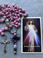 Valentine's Prayer Kit, Rose Beaded Rosary, Key Chain and Jesus Prayer Card