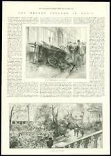 1896 Antique Print - FRANCE Paris Cyclone Havoc Cab Police Trees  (127)