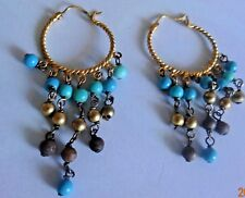 VINTAGE TURQUOISE BEADED HOOP EARRINGS GOLDEN TONE  for Cat Rescue